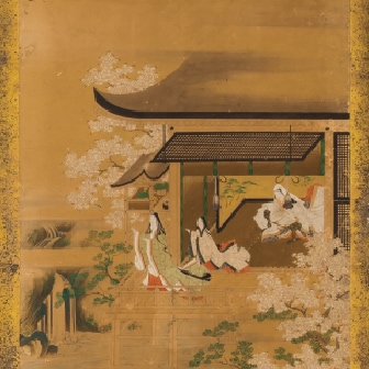 Folding Screen with Design of the Scenes from The Tale of Genji (1st half of 17th century)
