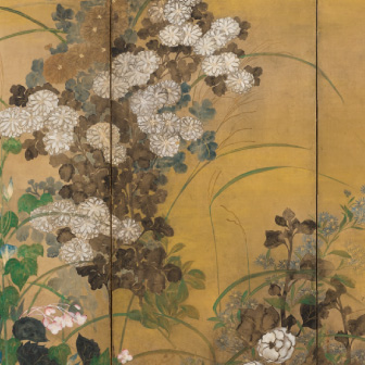 「草花図屏風(そうかずびょうぶ)」〈18世紀前半〉重要文化財