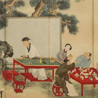 「茶筵酒宴図屏風(ちゃえんしゅえんずびょうぶ)」〈1766年〉