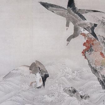 「巌頭飛雁図(がんとうひがんず)」〈1767年〉