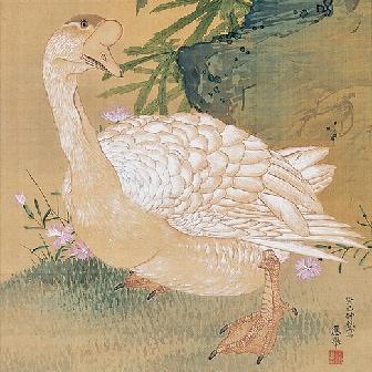 「黄蜀葵鵞鳥小禽図(おうしょっきがちょうしょうきんず)」〈1773年〉